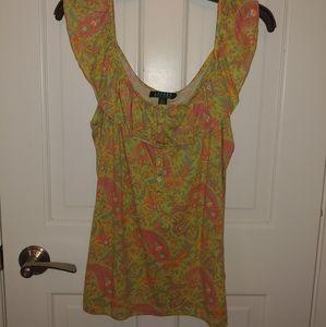 Ralph Lauren Paisley sleeveless shirt size XL